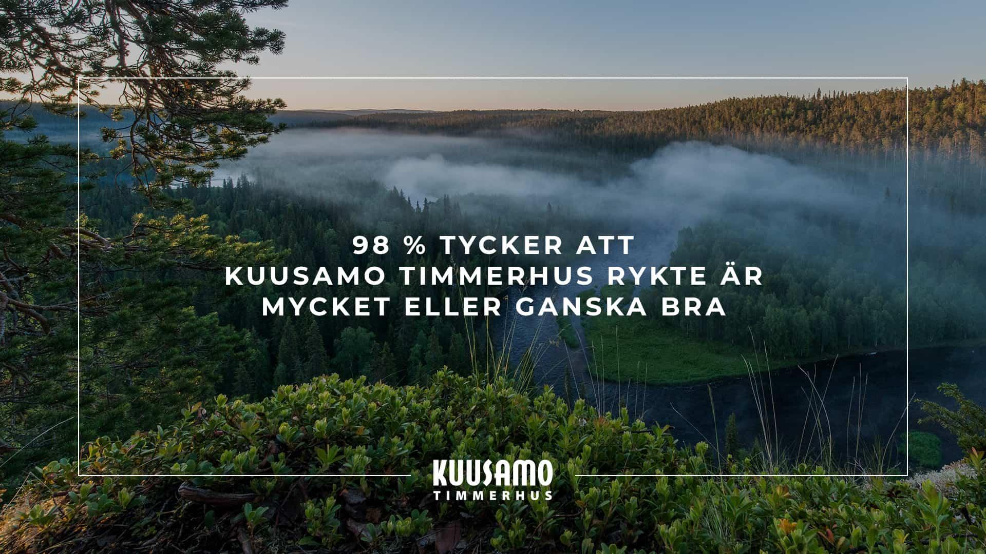98% tycker att Kuusamo Timmerhus rykte är mycket eller ganska bra.